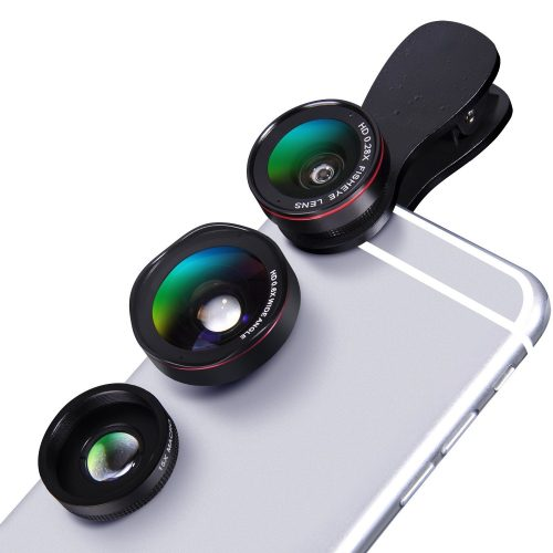 Universal iPhone Camera Lens Kit – Luxsure 3 in 1 Clip on Cell Phone Lens 100° Wide Angle Lens + 15x Macro Lens + 0.28x Fisheye Lens for iPhone 8/X/7 plus/7/6s/6s plus /SE/5 & Most Android Smartphones - Smartphones Fisheye Lens