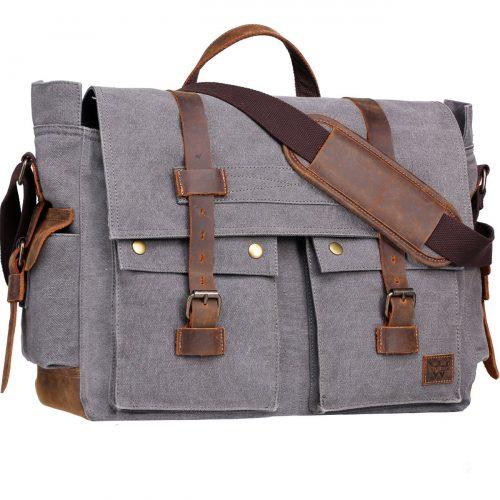 Wowbox 17 Inch Men's Messenger Bag Vintage Canvas Leather Satchel bag Military Shoulder Laptop Bags Bookbag Working Bag for Men and Women (Grey) - laptop messenger bag
