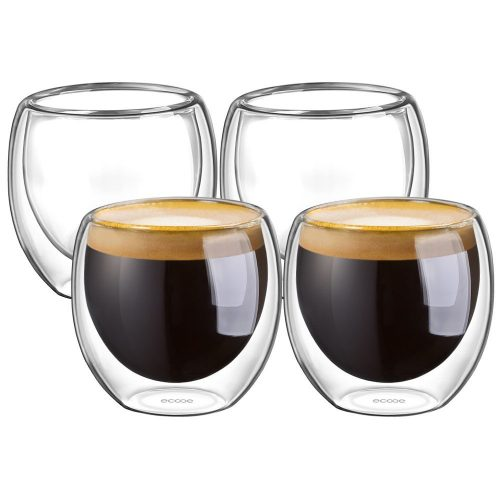 Ecooe Double Wall Espresso Cups 80 Milliliter/2.73 Ounce, Set of 4. - Espresso Cup Set