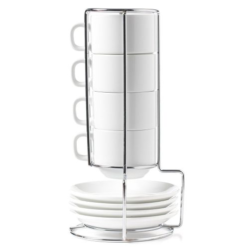 HUJI Stack-able Porcelain 4 Ounces Espresso Turkish Coffee Cups and Saucer with Chrome Rack (1). - Espresso Cup Set