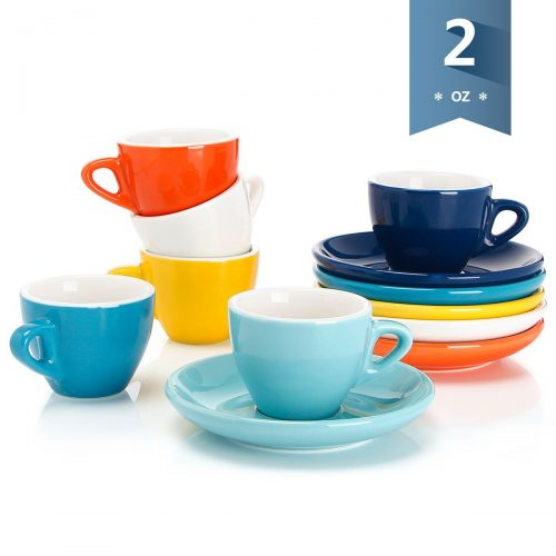 Sweese 4305 Porcelain Espresso Cups with Saucers - 2 Ounce - Set of 6, Assorted Colors. - Espresso Cup Set