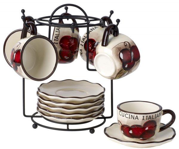Original Cucina Italiana Ceramic Double Shot Espresso 13 Piece Set with Rack, Soft White, Cherry Décor. - Espresso Cup Set