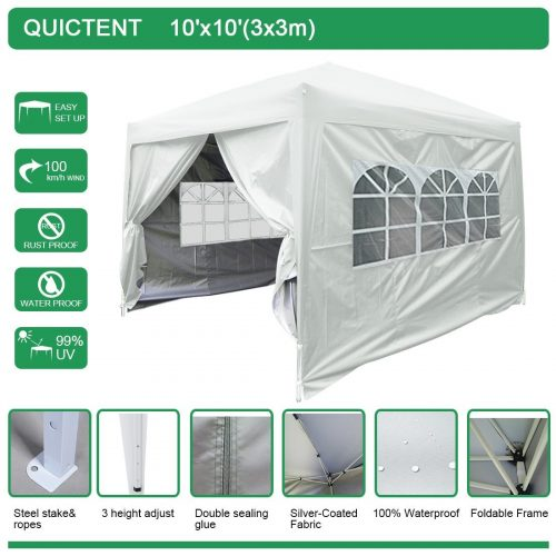 Quictent Silvox 10x10 EZ Pop Up Canopy Tent Instant Canopy Party Tent 8.7 ft height 4 Walls W/ Free Carry Bag 100% Waterproof-7 Colors
