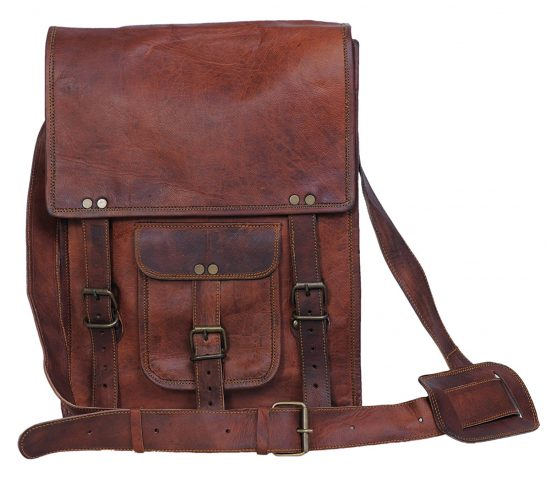 Komal's Passion Leather 11 Inch Sturdy Leather Ipad Messenger Satchel Bag.
