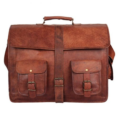 Leather Vintage Rustic Crossbody Messenger Courier Satchel Bag Gift Men Women ~ Business Work Briefcase Carry Laptop Computer Book Handmade Rugged & Distressed ~ Everyday Office College School 16 Inch.