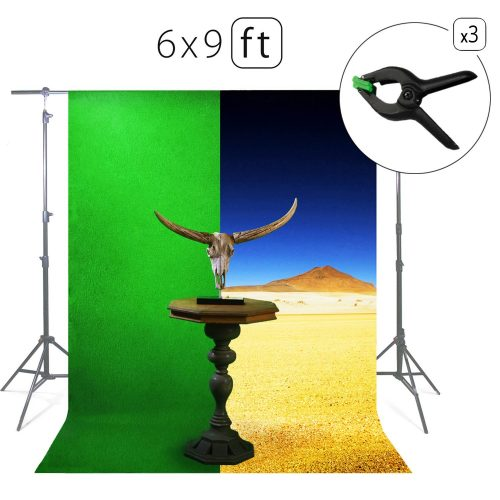 Green Screen Photo Backdrop or Background 6х9 Ft – 100% Cotton Muslin Chromakey Curtain Collapsible Set for Photography Studio Videos Gaming - Included 3 Backdrop Clamps & a Carry Bag - MUVR lab