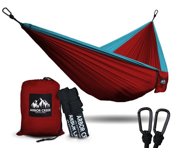 Best Double Camping Hammock by Arbor Creek Outfitters - Extremely Durable and Lightweight Nylon Fabric - Upgraded Aluminum Carabiners w/ Tree Friendly Straps – Holds 500 lbs.!