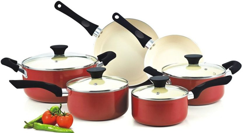 Cook N Home NC-00359 Nonstick Ceramic Coating 10-Piece Cookware Set, Red - ceramic cookware set