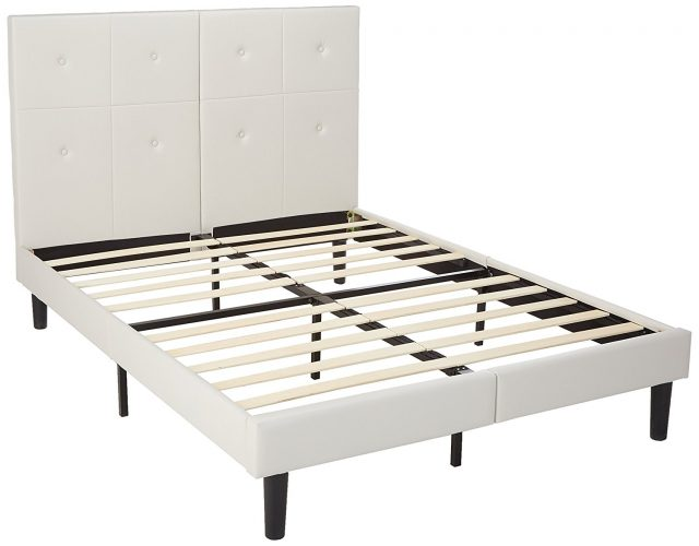 SLEEPLACE Metal Faux Leather Wood Folding Platform Bed Frame