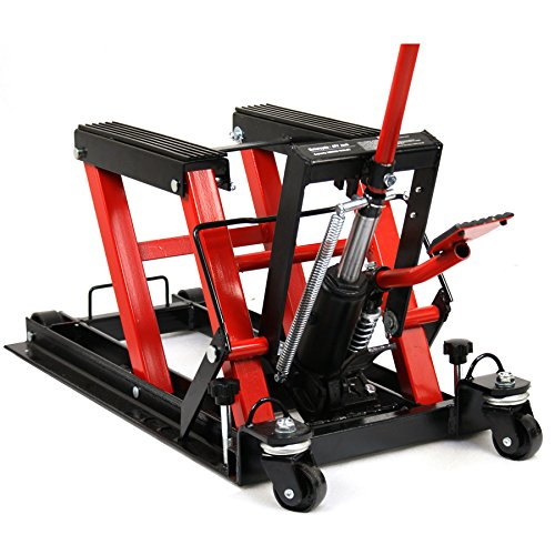 Smartxchoices Red/Black Motorcycle ATV Jack 1500 lbs Lift Stand Quad Dirt Street Bike Hoist - Motorcycle Lift Jacks