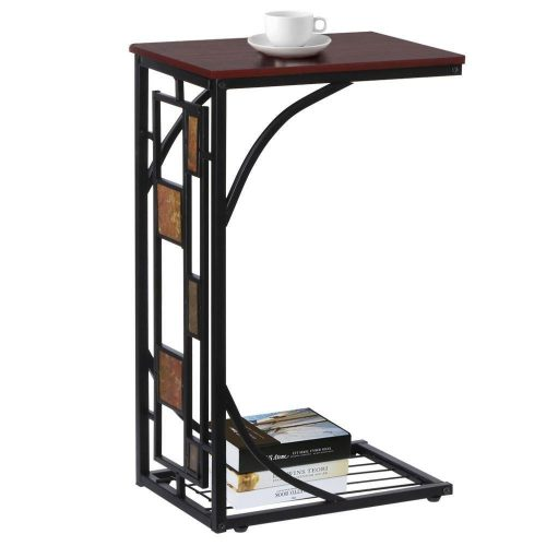 Topeakmart C-shaped Side Sofa Snack Table Coffee Tray End Table Living Room Furniture.