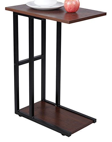 GIA C Shape Side End Table - Sofa Height - Faux Reclaimed Wooden Top and Bottom with Heat Resistance Treatment, Oak Color - Gray Frame - Easy Assemble.