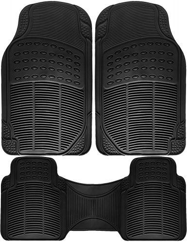 OxGord Universal Fit 3-Piece Full Set Ridged Heavy Duty Rubber Floor Mat - (Black)
