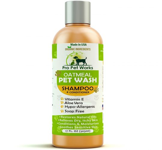 Pro Pet Works Natural Oatmeal Dog Shampoo + Conditioner In One For Dogs And Cats-Hypoallergenic And Soap Free With Aloe For Allergies & Sensitive Itchy Skin-Organic, Antifungal Blend17oz