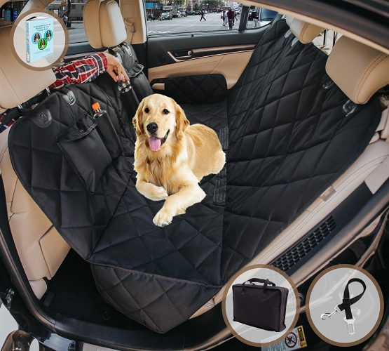 Dog car seat cover for Cars/Trucks/SUV's, Hammock Convertible, Waterproof Pet Backseat protector with extra side Flaps, Bonus Pet seat belt & Carry Bag