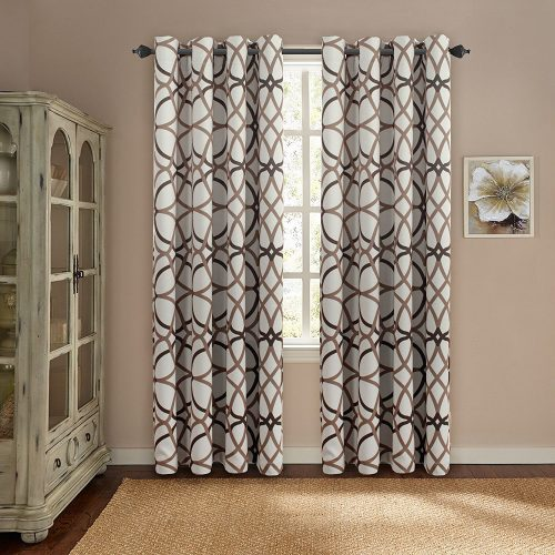 H.Versailtex Thermal Insulated Blackout Window Room Grommet Indoor Curtains-52 inch Width by 96-inch Length-Set of 2 Panels-Taupe and Brown Geo Pattern