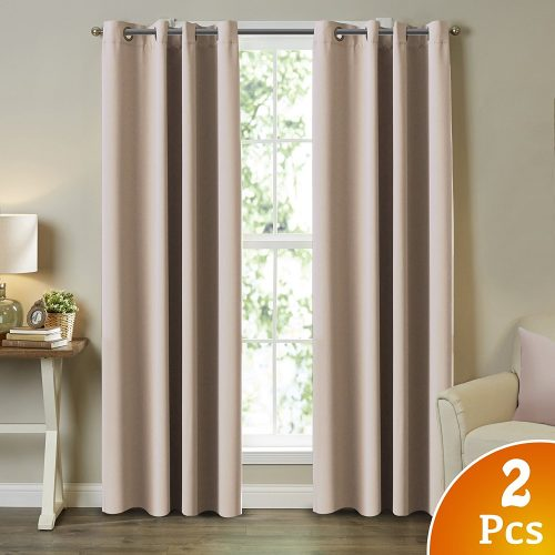 """TURQUOIZE 2 Panels Solid Blackout Drapes, Beige/Ivory, Themal Insulated, Grommet/Eyelet Top, Living Room Curtains Each Panel 52"""" W x 96"""" L"""