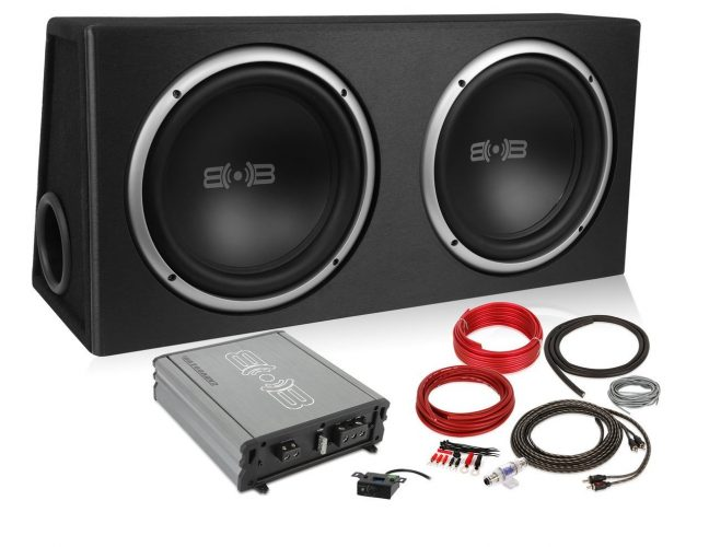 Belva 1200 watt Complete Car Subwoofer Package includes Two (2) 12-inch Subwoofers in Ported Box, Monoblock Amplifier, Amp Wire Kit [BPKG212v2]