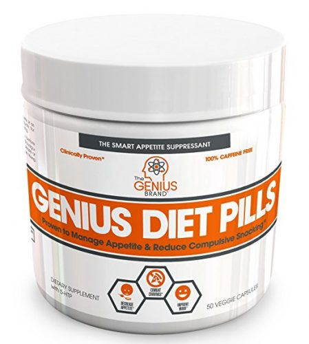 GENIUS DIET PILLS - The Smart Appetite Suppressant for Safe Weight Loss, Natural 5-HTP & Saffron Supplement Proven For Women & Men - Cortisol Manager + Mood, Stress and Thyroid Support, 50 Veggie Caps - Appetite Suppressant