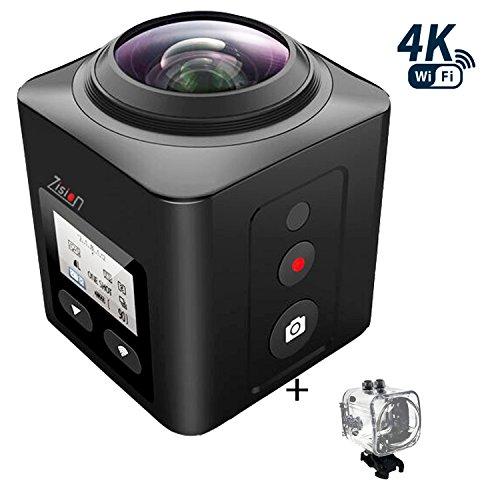 Zision 360°Panoramic VR Full View Action Camera Sport Mini Phone Remote Control Camera,4K WIFI MINI DV 220°Len 98ft Waterproof Shockproof Dustproof Camera Outdoor Travel DV 18 Accessory-Black - 360-Degree Camera