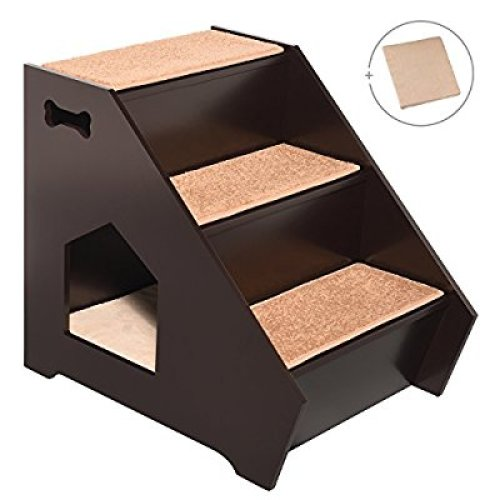 ARF Pets Cat Step House – Wooden Pet Stairs w/ 3 Nonslip Steps, Built-In House For Dogs, Cats & Short Pets to Reach Bed, Couch, Window, Car & More Extra BONUS Cushion Included - Pet Stairs