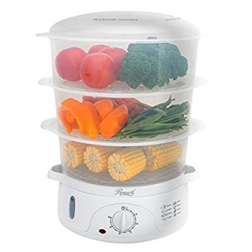 Rosewill BPA-free, 9.5-Quart (9L), 3-Tier Stackable Baskets Electric Food Steamer with Timer, RHST-15001 - Food Steamers
