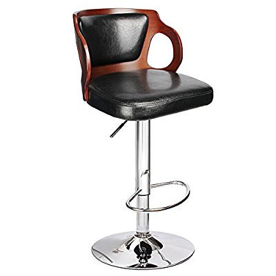 Homall Bar Stool Walnut Bentwood Adjustable Height Leather Bar Stools with Black Vinyl Seat Extremely Comfy with Back Pad (Walnut Set of ) - Adjustable Bar Stool
