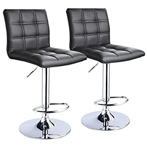 Modern Square PU Leather Adjustable Bar Stools With Back, Set of 2, Counter Height Swivel Stool by Leopard (Black) - Adjustable Bar Stool