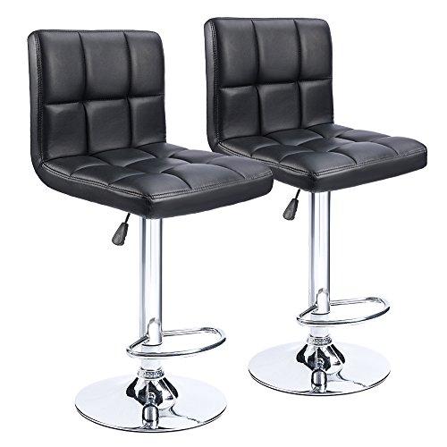 Homall Bar Stools Swivel Black Bonded Leather Barstool Adjustable Counter Height Bar Stool, Set of - Adjustable Bar Stool