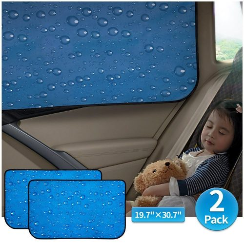 Car Sun Shade Car Window Shade Double Thickness Rear Side Window Auto Windshield Sunshades Universal Fit for RV truck UV protection 2 Pack by aokway - car window curtains for privacy
