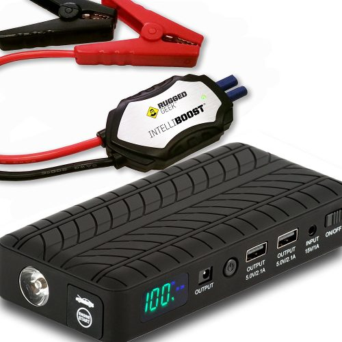 Rugged Geek RG1000 Safety 1000A Portable Car Jump Starter, Battery Booster Pack and Power Supply with LCD Display, INTELLIBOOST Smart Cables, LED Flashlight and USB & Laptop Charging. NEW! - Car Battery
