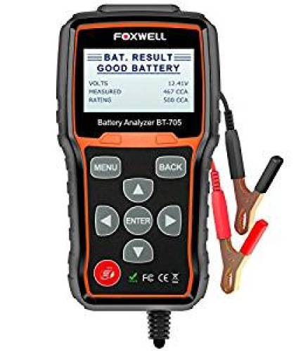 FOXWELL BT705 12V 24V Battery Analyzer 100-2000 CCA Automotive Car Battery Load Tester, Cranking and Charging System Test Scan Tool Digital Battery Tester for Cars and Heavy Duty Trucks