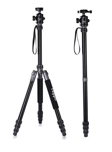 70 Inch travel camera tripod, REPPO P18 telescope Foldable camera tripods With Ball Head Quick Release Plate and Carry Case For Digital/Video/DSLR Cameras-Matte SILVER - DSLR camera tripods