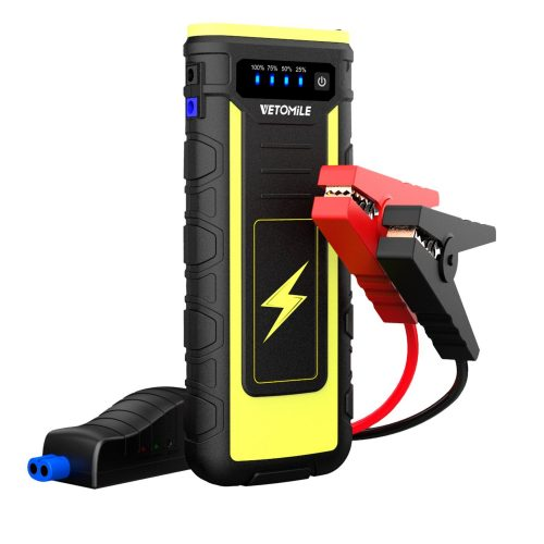 VETOMILE 800A Peak Car Jump Starter Booster Portable 21000mAH Auto Battery Charger Power Bank with USB charge Port and Flashlight, for Engines up to 6.5L Gas and 3.0L Diesel or Pickup Truck - Car Battery Chargers