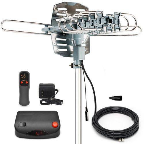 InstallerParts Snap On Amplified Outdoor HDTV Antenna -- 150 Miles Long Range -- Motorized 360 Degree Rotation -- Wireless Remote Control - Long Range Outdoor HDTV Antennas