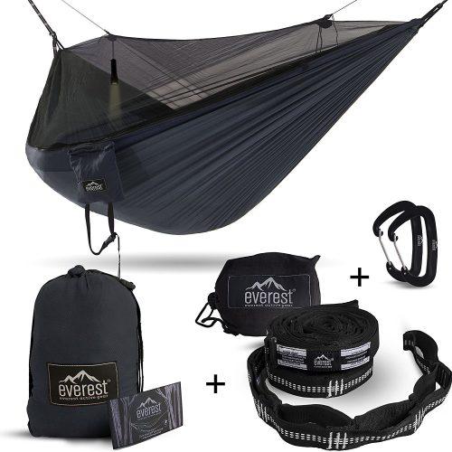 Double Hammock - Everest | Bug & Mosquito Free Camping & Outdoor Hammocks Tent Reversible Integrated BugNet YKK Zipper Lightweight Ripstop Diamond Weave Nylon - Hammocks With Mosquito Net