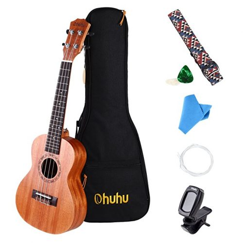 Concert Ukulele, Ohuhu 23 Inch Mahogany Uke Ukulele Set for Beginners, Including Ukele Tuner, Ukelele Strap, Ukulele Picks, Aquila Strings and Carrying Bag - Ukuleles For Beginners