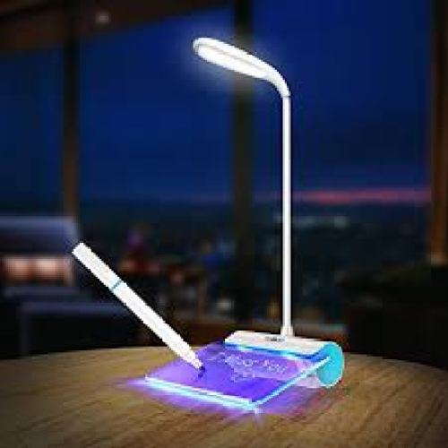 Desk Lamp, Walkas Lamp with Message Board Rechargeable LED Reading Lamp Touch Sensor-Blue - Desk Lamps