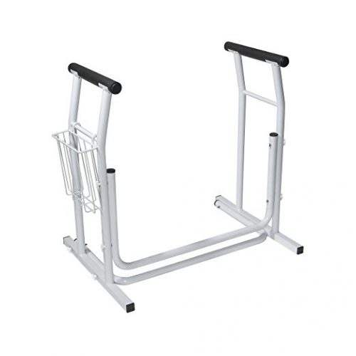 Drive Medical Stand Alone Toilet Safety Rail, White - toilet safety frames & rails