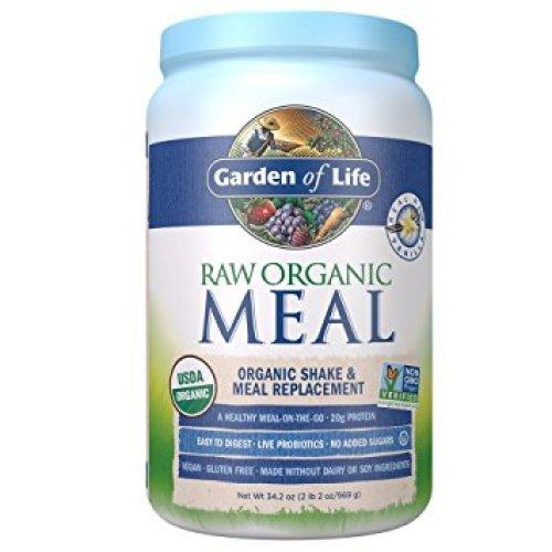 Garden of Life Meal Replacement - Organic Raw Plant Based Protein Powder, Vanilla, Vegan, Gluten-Free, 34.2oz (969g) Powder - Organic Protein Powders
