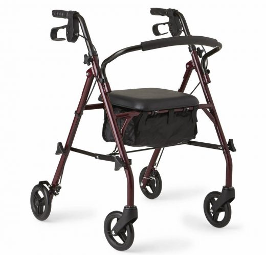 Healthcare Direct 100RA Steel Rollator Walker with 350 lb. Weight Capacity, Burgundy - Rollator Walkers with Seat