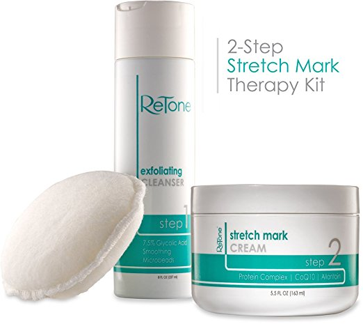 Retone Stretch Mark Therapy Kit - Comprehensive Stretch Mark and Scar Therapy Solution (Exfoliating Body Cleanser + Body Scrubber + Stretch Mark Cream) - Stretch Mark Removal Creams