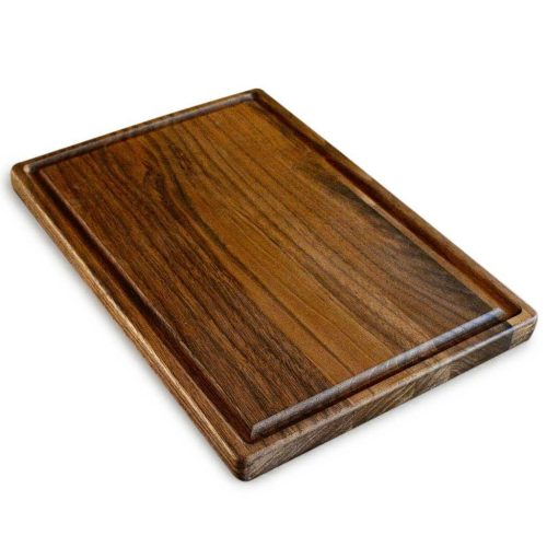 Walnut Wood Cutting Board by Virginia Boys Kitchens - 8x12 American Hardwood Chopping and Carving Countertop Block with Juice Drip Groove