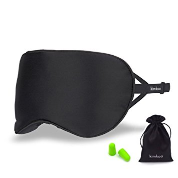 Kimkoo Silk Sleep Mask, Super Soft with Adjustable Strap and Eye Mask for Sleeping with Ear Plugs, Blocks Light, Black