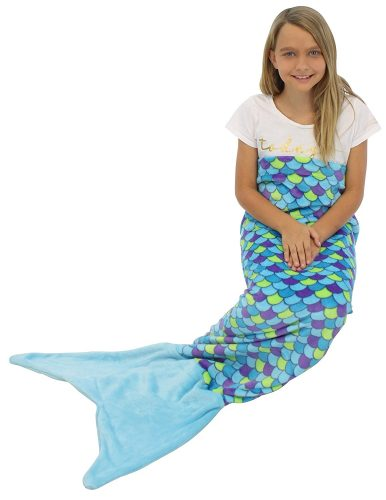 Sleepyheads Mermaid Tail Blanket Super Soft Fleece Sleeping Bag for Kids and Adults Blue and Purple with Blue Tail