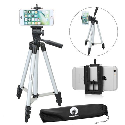 DIGIANT 50 Inch Aluminum Camera Phone Tripod+ Universal Tripod Smartphone Mount