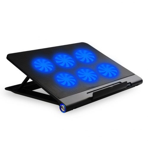 SIKER Cooling Pad For 14 - 17 Inch Laptops Gaming Notebook with 6 Quiet Fans USB Powered Adjustable Mounts Stand with LED Lights - laptop cooling pads