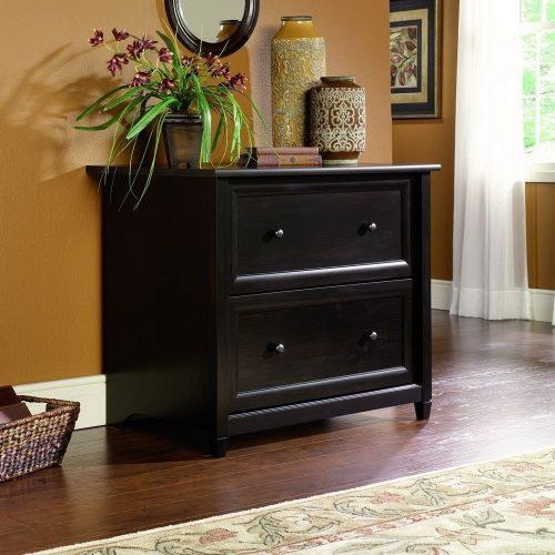 Sauder 409044 Estate Black Finish Edge Water Lateral File   Wooden File  Cabinets