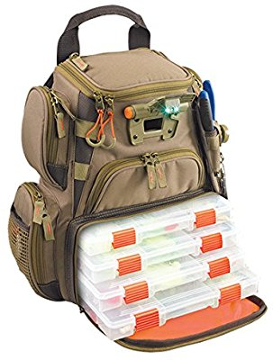 Wild River by CLC WT3503 Tackle Tek Recon Lighted Compact Tackle Backpack with Four PT3500 Trays and Clear, Water-resistant Phone Storage - Fishing Backpacks & Bags