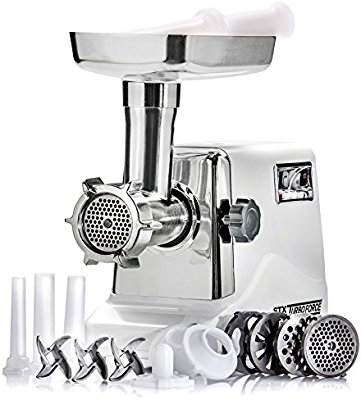 STX International STX-3000-TF Turboforce Electric Meat Grinder & Sausage Stuffer - 3 Speed - Heavy Duty (1200 Watts) - Size #12 - 4 Grinding Plates, 3 Stainless Blades, 3 Sausage Tubes & Kubbe) - Electric Meat Grinders